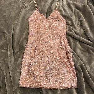 Rose gold sequin homecoming dress